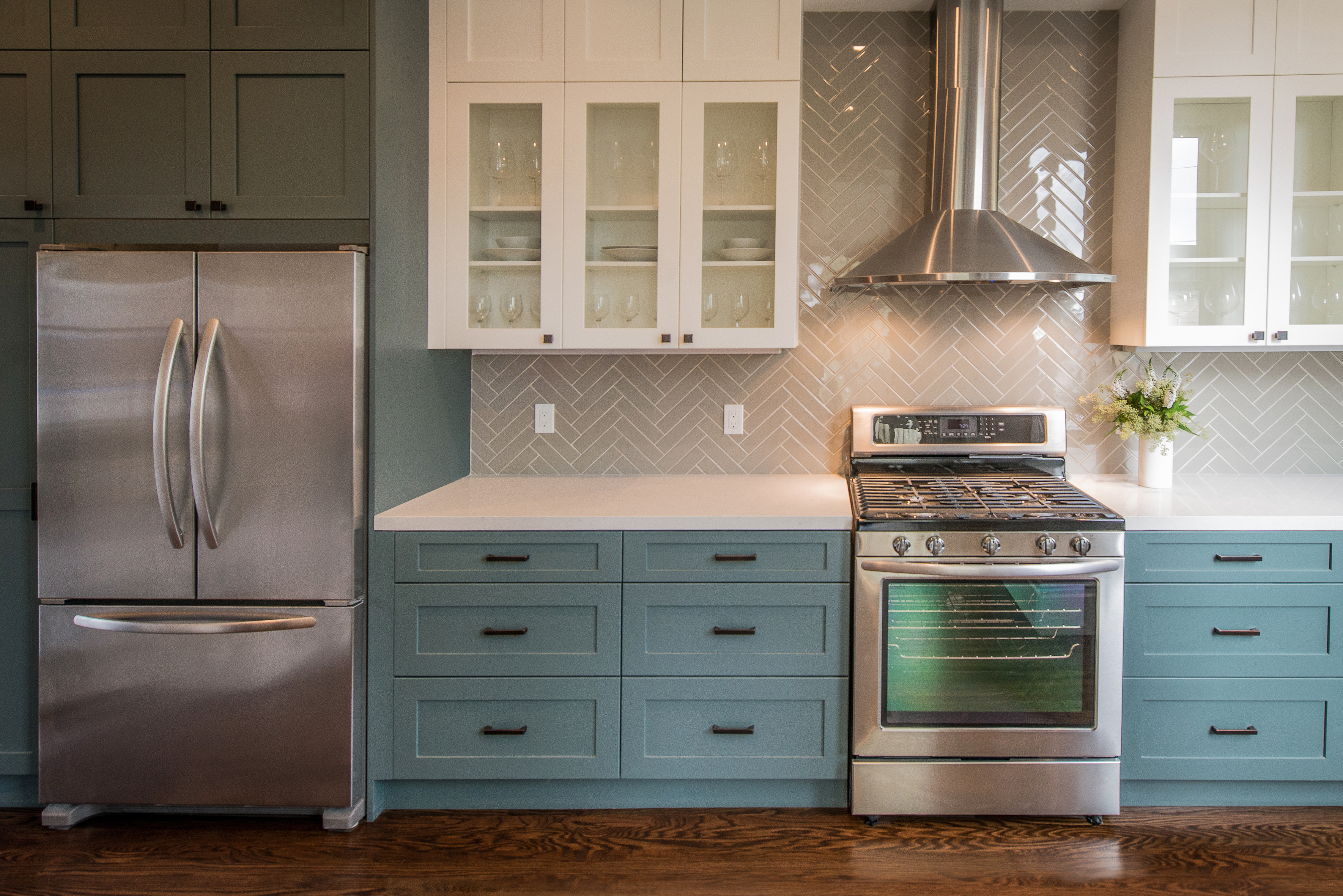 Modern Kitchen With Teal Base Cabinets Kitchen Fronts Of Georgia